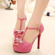 Rhinestones Bowknot Peep-toe High Stiletto Heel Platform Sandal