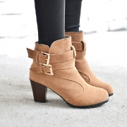 Fashion Round Toe Square Heel Belt Buckle Booties
