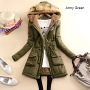 Fashion Solid Color Artificial Fur Spliced Hooded Gathered Waist Warm Coat
