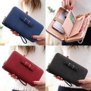 Elegant Solid Color Bowknot Wallet For Women