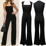 Elegant Solid Color Sleeveless Square Collar High Waist Slim Fit Jumpsuit