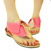Cute British Style Candy Color Collar Thong Sandal