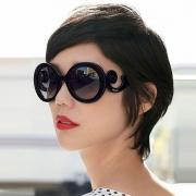 Retro Round Frame Anti-UV Women Sunglasses