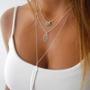Fashion Feather Leaf Pendant Multilayer Necklace