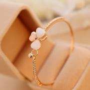 Fashion Faux Gem Clover Rhinestone-Encrusted Bracelet