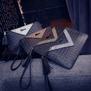 Fashion Tassel Rivet Long Zipper Clutch Wallet
