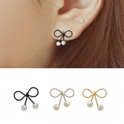 Fashion Elegant Bowknot Shaped Pearl Stud Earring