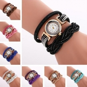 Fashion Rhinestone Multilayer Watchband Round Dial Bracelet Watch