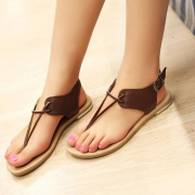Fashion Simple Solid Color Flat Heel Thong Sandals