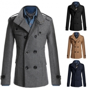 Fashion Solid Color Long Sleeve Double-breasted Men Woolen Coat