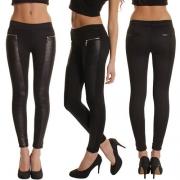 Fashion PU Leather Spliced High Waist Slim Fit Leggings