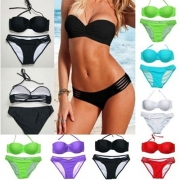 Sexy Solid Color Bandeau Bikini Set