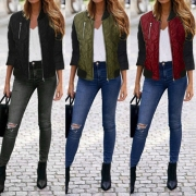 Fashion Contrast Color Front Zipper Long Sleeve Women's Padded Jacket