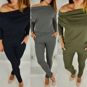 Casual Style Solid Color 2 Side Pockets Off Shoulder Long Sleeve Jumpsuit