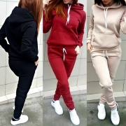 Fashion Solid Color Long Sleeve Hooded Sweatshirt + Pants Sports Suit