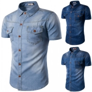 Retro Style Short Sleeve POLO Collar Single-breasted Men's Denim Shirt