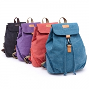 Retro Style Solid Color Canvas Backpack