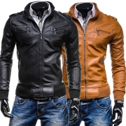 Fashion Solid Color Long Sleeve Stand Collar Men's PU Leather Coat