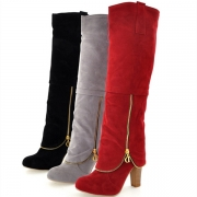 Fashion Solid Color Thick Heel Round Toe Knee-length Boots
