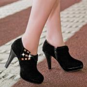 Fashion High-heeled Round Toe Rhinestone Inlaid Shoes