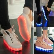 Fashion Flat Heel Round Toe Lace-up Glowing Shoes