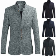 Fashion Long Sleeve Stand Collar Slim Fit Men's Suit Coat