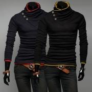 Fashion Contrast Color Long Sleeve Heaps Collar Men's Sweatshirt