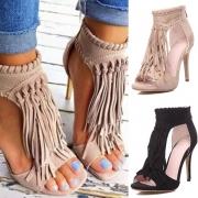 Fashion High-heeled Peep Toe Tassel Sandals