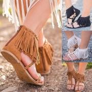 Punk Style Flat Heel Rivets Tassel Sandals