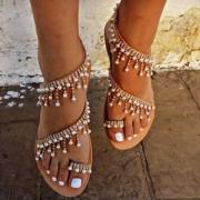 Bohemain Style Flat Heel Beaded Sandals