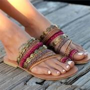 Bohemian Style Flat Heel Beaded Slippers