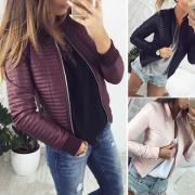 Fashion Round Neck Zipper Front Quilted Faux Leather Jacket