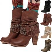 Fashion Thick High-heeled Round Toe Rhinestone Buckle Strap Boots