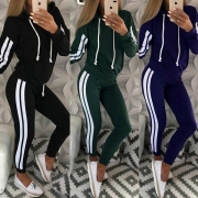 Fashion Striped Spliced Long Sleeve Hoodie + Pants Sports Suit