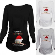 Cute Santa Claus Printed Long Sleeve Round Neck Maternity T-shirt