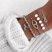 Fashion Heart Linked Bracelet Set 4 pcs/Set