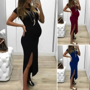 Sexy Slit Hem Short Sleeve Round Neck Solid Color Maternity Dress