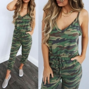 Sexy Backless V-neck Camouflage Printed Sling Jumpsuit