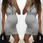 Fashion Sleeveless Mock Neck Striped Maternity Dress