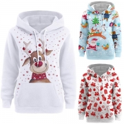 Cute Cartoon Printed Long Sleeve Thin Hooded Sweatshirt