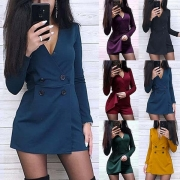 Sexy Deep V-neck Long Sleeve Double-breasted Slim Fit Romper