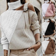 Sexy Off-shoulder Long Sleeve Contrast Color Turtleneck Sweater