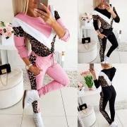 Fashion Leopard Spliced Long Sleeve Sweatshirt + Pants Two-piece Set