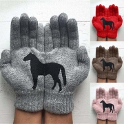 Cute Black Horse Pattern Knit Gloves