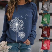 Fashion Dandelion Printed Long Sleeve Round Neck Sweatshirt