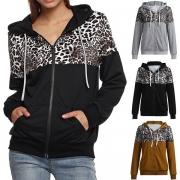 Fashion Leopard Spliced Long Sleeve Hooded Sweatshirt Coat