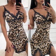 Sexy V-neck Slit Hem Lace Spliced Sling Leopard Nightwear Dress