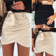 Fashion Solid Color High Waist Irregular Hem Skirt