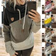Casual Style Contrast Color Long Sleeve Hooded Sweatshirt