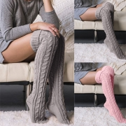 Solid Color Over-the-Knee Knitted Stockings